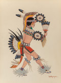 American Indian Art:Photographs, Stephen Mopope (Kiowa, 1898 - 1974). Fancy War Dancer. FluteDancer. Shield Dancer... (Total: 3 )