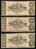 Confederate Notes:1862 Issues, T52 $10 1862 PF-1 Cr. 369; PF-21 Cr. 375 (2).. ... (Total: 3 notes)