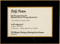 Beatles - Billy Preston's Grammy Nomination Certificate For The Concert For Bangladesh and p