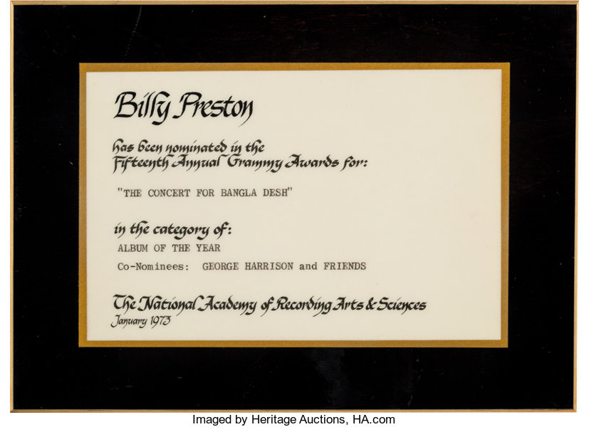 Beatles - Billy Preston\'s Grammy Nomination Certificate For | Lot ...