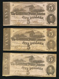 Confederate Notes:1862 Issues, T53 $5 1862 PF-2 Cr. 382; PF-13 Cr. 388 (2).. ... (Total: 3 notes)