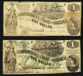 Confederate Notes:Group Lots, T44 $1 1862 PF-1 Cr. 339. T45 $1 1862 PF-2 Cr. 342. ... (Total: 2notes)