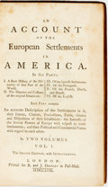Books:Americana & American History, [Edmund Burke]. An Account of the European Settlements inAmerica. In Six Parts, Vols. I & II. London: R. and J....(Total: 2 Items)