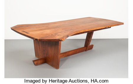 Miriam Nakashima (American, 20th Century)Sanso Dining Table, 2004Bookmatched walnut with East Indian rosewood butter...