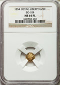 California Fractional Gold: , 1854 25C Liberty Octagonal 25 Cents, BG-104, R.4, MS64 ProoflikeNGC. NGC Census: (3/1). ...