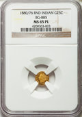 California Fractional Gold: , 1880/76 25C Indian Round 25 Cents, BG-885, R.3, MS65 Prooflike NGC.NGC Census: (5/3). ...