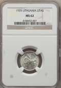 Lithuania, Lithuania: Republic Litas 1925 MS62 NGC,...