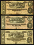 Confederate Notes:1864 Issues, T68 $10 1864, Three Examples.. ... (Total: 3 notes)