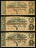Confederate Notes:1864 Issues, T69 $5 1864, Three Examples.. ... (Total: 3 notes)