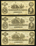 Confederate Notes:1862 Issues, T46 $10 1862 PF-2 Cr. 343, Three Examples.. ... (Total: 3 notes)