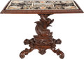 Furniture : Continental, A Carved Oak Table with Micromosaic and Pietra Dura Top of thePiazza Della Rotonda, 19th century. 32 inches hig...