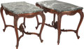 Furniture , A Pair of Louis XV-Style Oak Center Tables with Marble Tops, 19th century. 31 inches high x 46-1/2 inches wide x 28-1/2 inch... (Total: 2 Items)