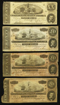 Confederate Notes:Group Lots, T51 $20 1862 PF-4 Cr. 365.. T67 $20 1864 (3). ... (Total: 4 notes)