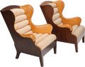 Furniture , A Pair of Modern Oak and Maple Wingback Chairs, 20th century. 38 inches high x 31 inches wide x 33 inches deep (96.5 x 78.7 ... (Total: 2 Items)