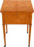 Furniture : Continental, A Biedermeier-Style Bird's Eye Maple and Satinwood MechanicalVanity Table with Faux Tortoiseshell Accoutrements, 20th centu...(Total: 10 Items)