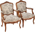 Furniture , A Pair of Regencé-Style Toile Upholstered Walnut Fauteuils, late 19th century. 39 inches high x 26-1/2 inches wide x 21 inch... (Total: 2 Items)