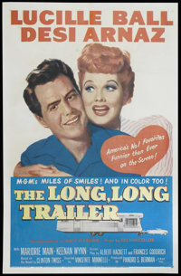 "The Long, Long Trailer (MGM, 1954). One Sheet (27"" X 41""). Comedy. Directed by Vincente Minnelli. Starring Luc..."