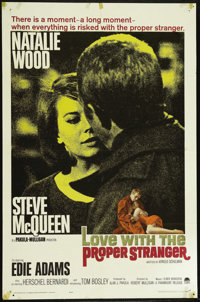 "Love with the Proper Stranger (Paramount, 1964). One Sheet (27"" X 41""). Starring Natalie Wood, Steve McQueen..."