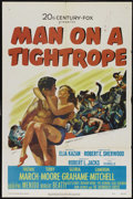 """Movie Posters:Drama, Man on a Tightrope (20th Century Fox, 1953). One Sheet (27"""" X 41""""). Drama. Directed by Elia Kazan. Starring Fredric March, T..."""