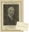 """Autographs:U.S. Presidents, White House Card Signed """"Warren G Harding"""", one page, 4.25""""x 2.75"""". Fine condition. Included is the September, 1923 is...(Total: 2 Item)"""