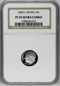 Proof Roosevelt Dimes: , 2005-S 10C Silver PR70 Deep Cameo NGC. PCGS Population (61/0).(#95311)...