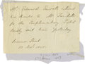 "Autographs:Statesmen, Edward Everett ANS, one page, 4.75"" x 3.25"", Summer Street(Boston?), November 10, 1858. Written in the third person, theno..."