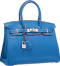 Luxury Accessories:Bags, Hermes Limited Edition 30cm Mykonos & White Clemence Leather Eclat Birkin Bag with Palladium Hardware. Excellent Condition...