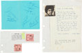 Music Memorabilia:Autographs and Signed Items, Rare Jackson 5 Autograph Sheet Including Both Jermaine and Randy,With A Handwritten Michael Jackson Concert Introduction By T...