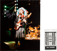 Stevie Ray Vaughan Signed 1989 Photograph and All Access Pass