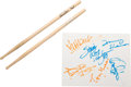 """Music Memorabilia:Memorabilia, Stevie Ray Vaughan & Jeff Beck Signatures from """"The Fire Meets the Fury"""" Tour with Chris Layton Pair of Signed Drumsticks ..."""
