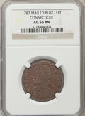 Colonials, 1787 CONNECT Connecticut Copper, Mailed Bust Left Connecticut Copper, M. 15-F, W-2900, R.3, AU55 NGC. ...