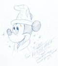 "Animation Art:Production Drawing, Don ""Ducky"" Williams Mickey Mouse as the Sorcerer'sApprentice Illustration (1995)...."