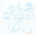 Animation Art:Production Drawing, Stephen Silver - Kim Possible, Ron Stoppable, and Dr. DrakkenSketch Original Art (undated)....