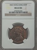 Hong Kong , Hong Kong : British Colony. Victoria Cent 1863 MS63 Brown NGC,...