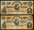 Confederate Notes:1864 Issues, T65 $100 1864 PF-2 Cr. 494, Two Examples.. ... (Total: 2 notes)