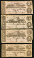 Confederate Notes:1862 Issues, T53 $5 1862, Four Examples.. ... (Total: 4 notes)