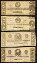 Confederate Notes:1862 Issues, T54 $2 1862;. T55 $1 1862 Two Examples;. T61 $2 1863.. ... (Total:4 notes)