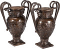 Decorative Arts, Continental:Other , A Pair of Egyptian Revival Patinated Bronze Urns with Double SnakeHandles, late 20th century. 34 inches high x 25 inches wi...(Total: 2 Items)