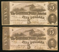 Confederate Notes:1862 Issues, T53 $5 1862, Two Examples.. ... (Total: 2 notes)