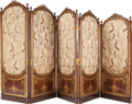 Furniture : French, A Louis XVI-Style Graduated Five-Panel Mahogany Dressing Screen,19th century. 63 inches high x 120 inches wide (160.0 x 304...