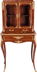 Furniture : French, A Louis XV-Style Mahogany, Kingwood, and Gilt Bronze Bonheur duJour, circa 1880. 51 inches high x 25-1/4 inches wide x 16 i...