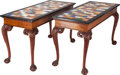 Furniture : English, A Pair of English Georgian-Style Mahogany Library Tables with Specimen Tops, 20th century. 33-1/2 inches high x 59 inches wi... (Total: 2 Items)