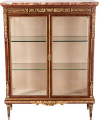 A Louis XVI-Style Gilt Bronze and Mahogany Vitrine with Marble Top, circa 1900 56 inches high x 41 inches wide (14