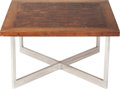 Furniture : American, A Contemporary Walnut Butcher Block and Chrome Coffee Table, late 20th century. 16-1/2 x 29-3/4 x 29-3/4 inches (41.9 x 75.6...