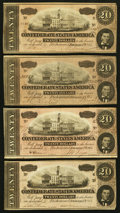 Confederate Notes:1864 Issues, T67 $20 1864, Four Examples.. ... (Total: 4 notes)