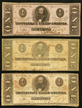 Confederate Notes:1863 Issues, T62 $1 1863 Two Examples;. T71 $1 1864.. ... (Total: 3 notes)
