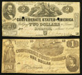 Confederate Notes:1862 Issues, T42 $2 1862;. T44 $1 1862.. ... (Total: 2 notes)