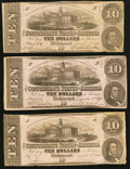 Confederate Notes:1862 Issues, T52 $10 1862, Three Examples.. ... (Total: 3 notes)