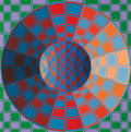 Paintings, Victor Vasarely (French, 1906-1997). Xanor, 1979. Acrylic on canvas. 29 x 29 inches (73.7 x 73.7 cm). Signed in pencil l...