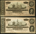 Confederate Notes:1864 Issues, T67 $20 1864, Two Examples.. ... (Total: 2 notes)